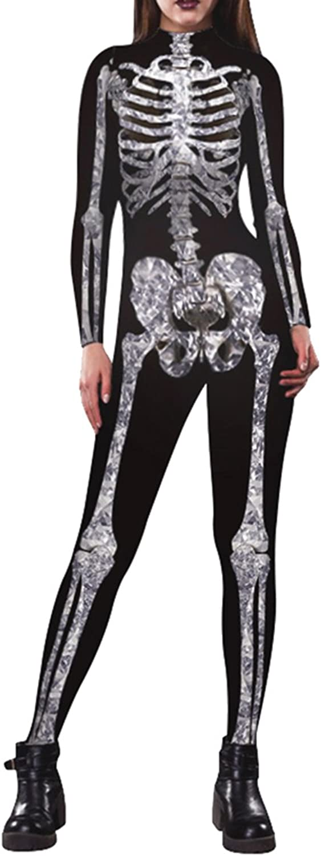 VamJump Women Halloween Costume Cosplay Skeleton Print Bodycon Catsuit Jumpsuits