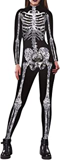 Womens Halloween Skeleton Print Costume Stretch Skinny Catsuit Jumpsuit