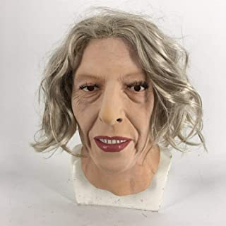 Adults Halloween Fashion Elderly Woman Cosplay Beauty Face Party Mask Long Hair Carnival Mask Dressing Up