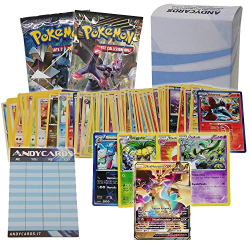 Andycards Lotto GX - 50 carte POKEMON IN ITALIANO con minimo 5 Carte FOIL di cui almeno 1 CARTA GX + 2 Buste a caso sigillate + 1 Segnapunti