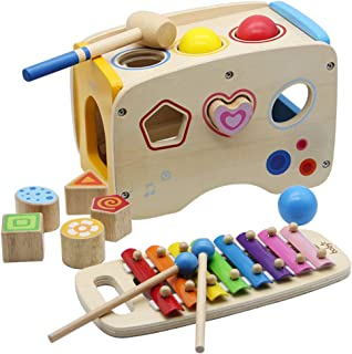 ATDAWN Wooden Shape Sorter Bus with Slide Out Xylophone, Wooden Musical Pounding Toy, Baby Color Recognition and Geometry Learning, Multifunctional and Bright Colors (Style 1)