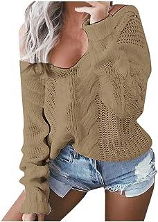 Poachers Jersey Mujer Manga Larga Invierno Top de suéter Cuello en V de Color Liso Jersey Mujer otoño Jersey Mujer Tallas ...