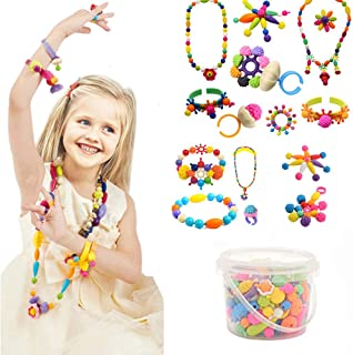 Edycur 250 Pcs Arty Snap Pop Beads Set with Storage Bucket, Arts and Crafts Toys Gifts for Kids Age 4yr-12yr Creative DIY Jewelry Kit for Toddlers Christmas Gift Toys for 4,5,6,7,8 Year Old Girls