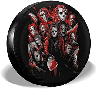 REECECAM Jason Voorhees Potable Polyester Universal Spare Wheel Tire Cover Wheel Covers for Jeep Trailer RV SUV Truck Travel Trailer Accessories(14,15,16,17 Inch)