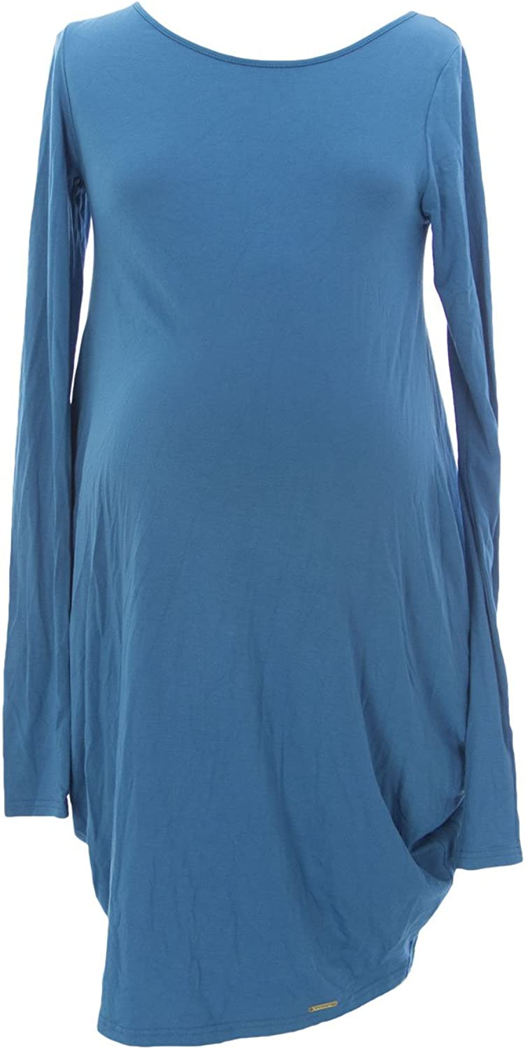 9FASHION Maternity Women's Elfri Long Tunic, Small, Azure