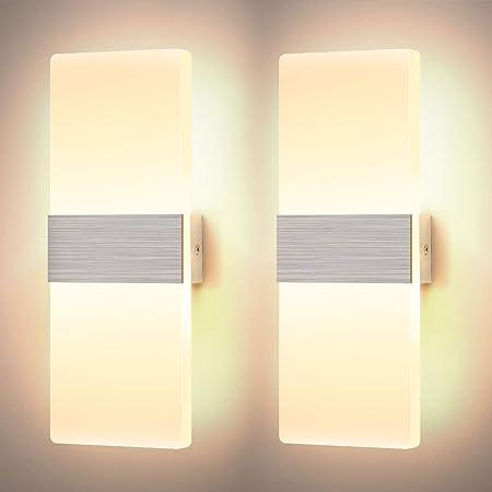 Glighone 2*12W Applique Murale Interieur Dimmable LED Lampe Murale en Acrylique Design Moderne Decoration Luminaire Mural pour Salon Chambre Couloir Salle de Bain, Blanc Chaud [Classe énergétique A++]