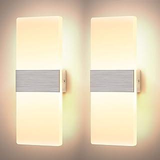 Glighone 2*12W Applique Murale Interieur Dimmable LED Lampe Murale en Acrylique Design Moderne Decoration Luminaire Mural ...