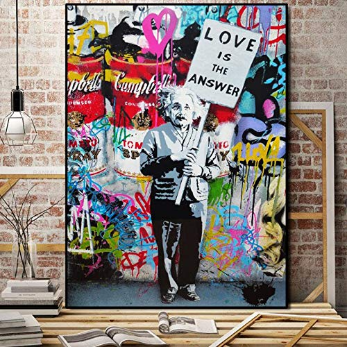 KWzEQ El Amor es la Respuesta Lienzo Arte Pintura Mural Colorido Graffiti Street Art en la Pared de la Sala,Pintura sin Marco,60x85cm