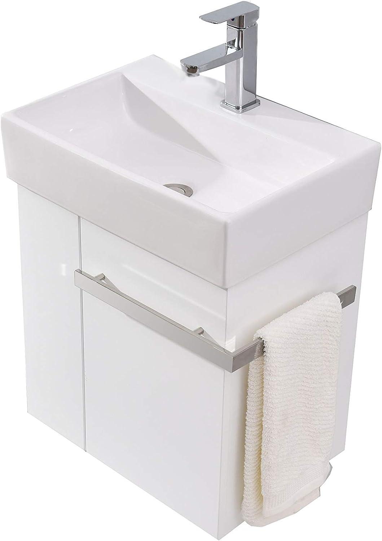 Badmbel-Set Compact 500 für Gste-WC - Wei matt, Ablaufgarnitur Pop-up Ohne Ablaufgarnitur