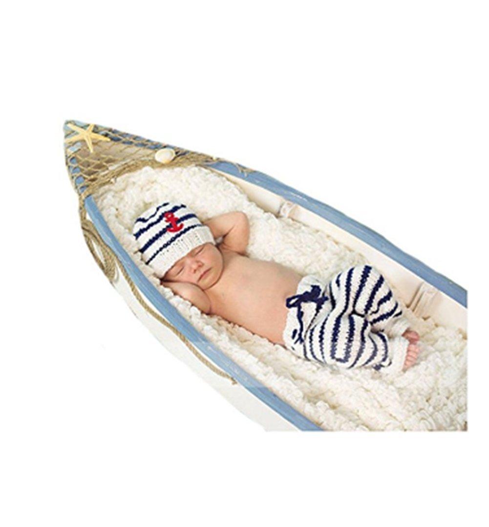 Eyourhappy男性の赤ちゃんの写真撮影の小道具のかぎ針編みニットキャップ衣類のセーリング服パンツ
