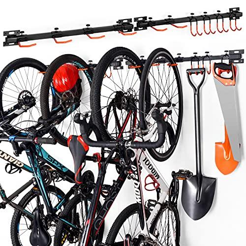 Soporte de Pared para Bicicletas,Colgador de Bici de Pared,Soporte aparcar para 6 Bicicletas,Soporte de Bicicleta con Gancho de Garaje,para Organizar Herramientas,Bicicletas -10 Ganchos y 2 carriles