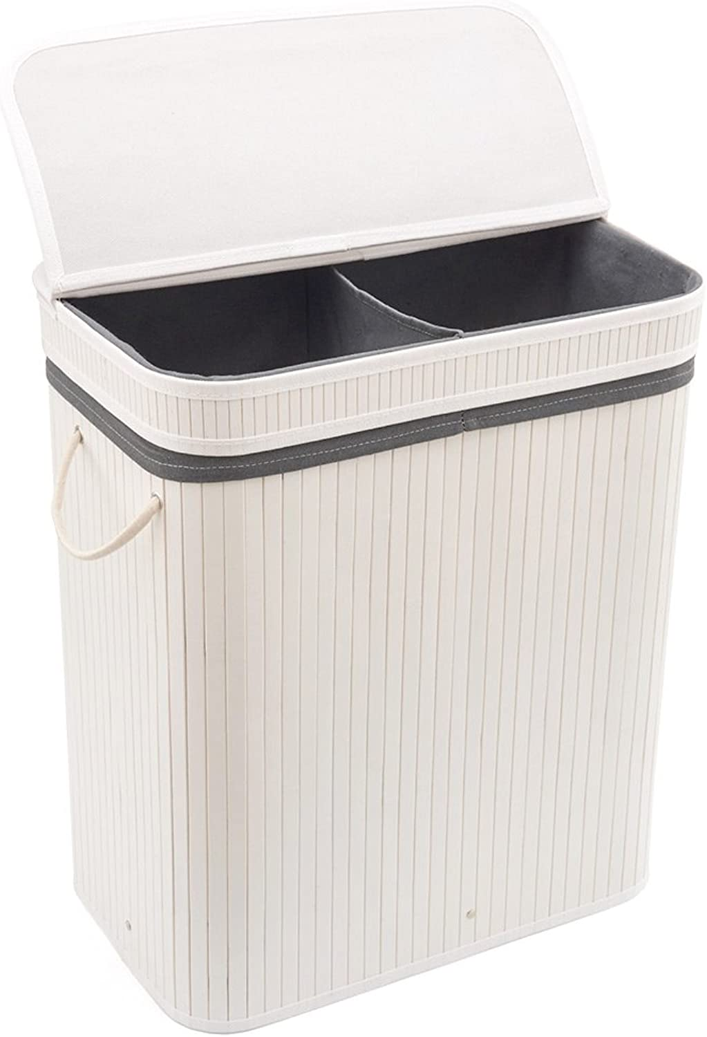 EZOWare 2 Section Folding Bamboo Hamper, Collapsible Bamboo Laundry Hamper Clothes Basket Container with Lid Handles and Cloth Liner - White