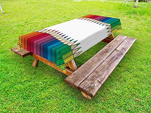 ABAKUHAUS Skizze-Kunst Outdoor-Tischdecke, Farbton-Bleistifte Grafik, dekorative waschbare Picknick-Tischdecke, 145 x 305 cm, weiß Multicolor