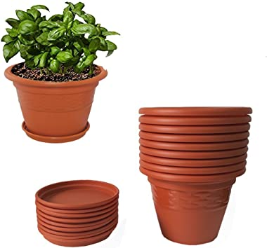 Meded Siti Plast Heavy Duty Plastic Planter Pots with Bottom Tray Color Terracotta (10 Inch, Pack of 9)
