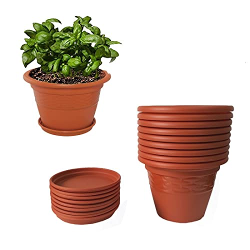 Meded Siti Plast 10 Inch Heavy Duty Plastic Planter Pots With Bottom Tray (Pack Of 9) Colour - Terracotta