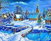 クロスステッチ 大人のためのクロスステッチキット 川沿いの雪 40x50cm 11CT番号別刺繍キット手作りキットパンチ針刺繍DIY初心者向け手作りスターターキット