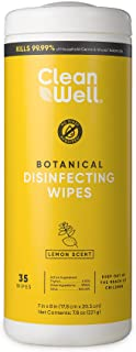 CleanWell Botanical Disinfecting Wipes, Lemon, 35 count (1 PK)-Kills 99.9% of Household Germs, Plant-Derived, No-Rinse Mul...