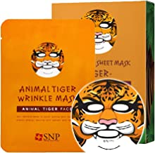 SNP - Animal Tiger Wrinkle Korean Face Sheet Mask - 10 Sheet Pack - Best Gift Idea for Mom, Girlfriend, Wife, Her