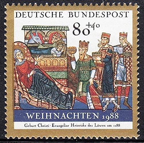 FGNDGEQN Colección de Sellos Alemán West Alemania 1988 Navidad 1 Sello Extranjero Completo