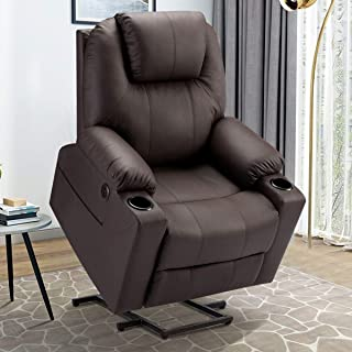 Esright Electric Power Recliner Lift Chair Faux Leather Electric Recliner for Elderly, Heated Vibration Massage Sofa with ...