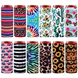 Elcoho 12 Pieces Beer Can Cooler Covers Soft Beer Cooler Bag Neoprene Slim Can Sleeves Insulated Slim Sleeves for Cans Slim Can Cooler for 12 Ounces Drinks