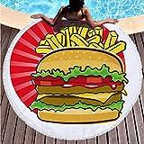 AMZJIEFU Toalla de Playa Redonda de Verano * Estera de Playa Hamburguesa de donas Toalla de Playa Microfibra Estera de baño Manta de Picnic
