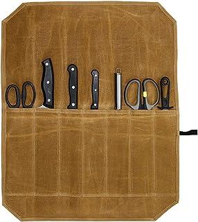Sacs de rangement et rouleaux de couteaux en toile cirée pour couteaux de cuisine et ustensiles de cuisine (kaki)