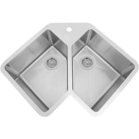 Ruvati Rvh8400 Undermount Corner Kitchen Sink 16 Gauge 44 Double Bowl Stainless Steel