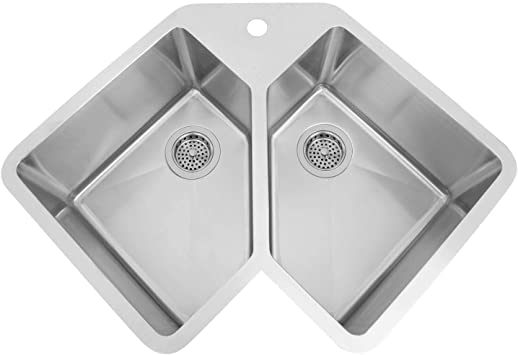 Signature Hardware 318277 Infinite 32 3 4 Undermount Double Basin 16 Gauge Stainless Steel Corner Kitchen Sink With Single Faucet Hole Double Bowl Sinks