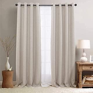 jinchan Linen Curtains Textured Room Darkening Bedroom Living Room Window Treatment Panels 2 Pieces 84