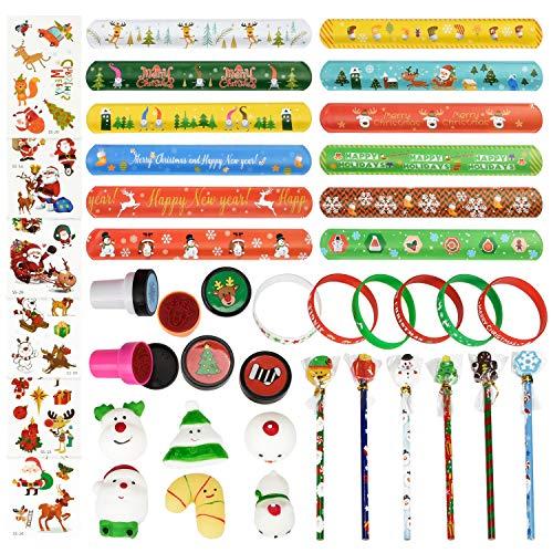 Cualfec Christmas Bulk Toys for Kids Christmas Pencils, Squishy Mochi Toys, Slap Bracelets, Christmas Stamps and Tattoos for Party Favor - 42 Pk/Box