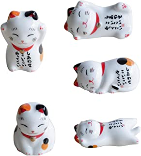 Dreamseeker Ceramic Lucky Cat Chopstick Holder, Home Ceramic Decoration, Lucky Cat Tableware Holder for Home Kitchen Gift