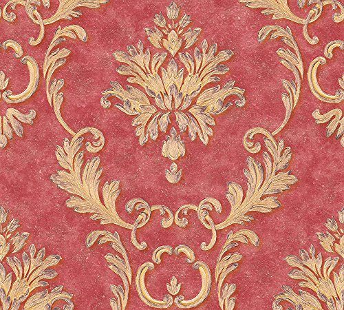 Architects Paper Vliestapete Luxury Wallpaper Tapete mit Ornamenten barock 10,05 m x 0,53 m metallic rot Made in Germany 324226 32422-6