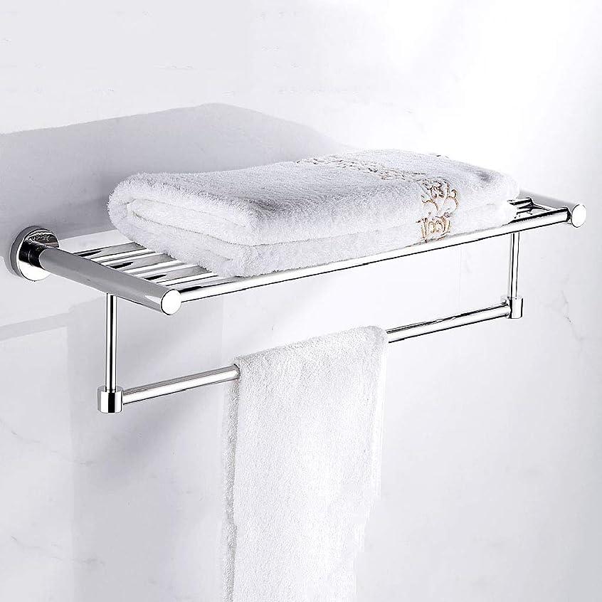 時計シミュレートする収容する壁に取り付けられたステンレス鋼の浴室のタオル掛けの二重層のタオルの棚、ミラーの磨くクロム仕上げのタオル掛け(60cm)