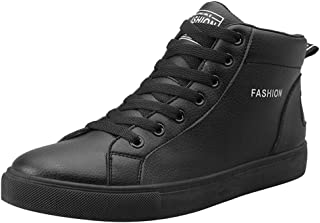 Men's Casual Shoes Students Black And White High-top Flat Sneakers Outdoor Lace Up Sport Leisure Shoes By God's pens