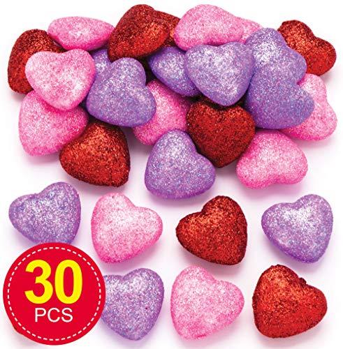 Baker Ross Glitzerherzen (30 Stück) – für Kinder zum Basteln und Gestalten zum Valentinstag oder Muttertag