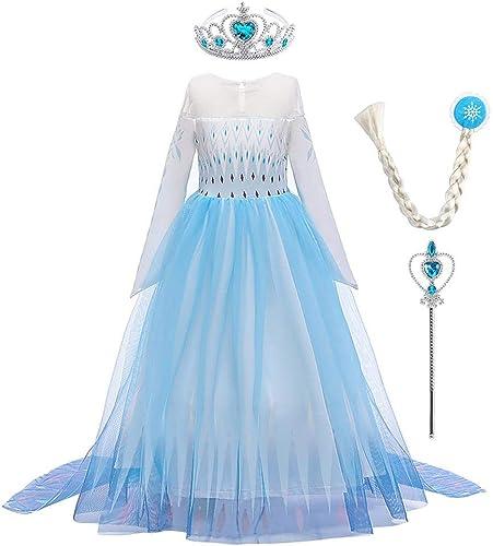 OBEEII Princesse Costume Filles Cosplay Déguisement et Accessoires Enfant Robe de Soirée Halloween Fêtes Noël Anniver...