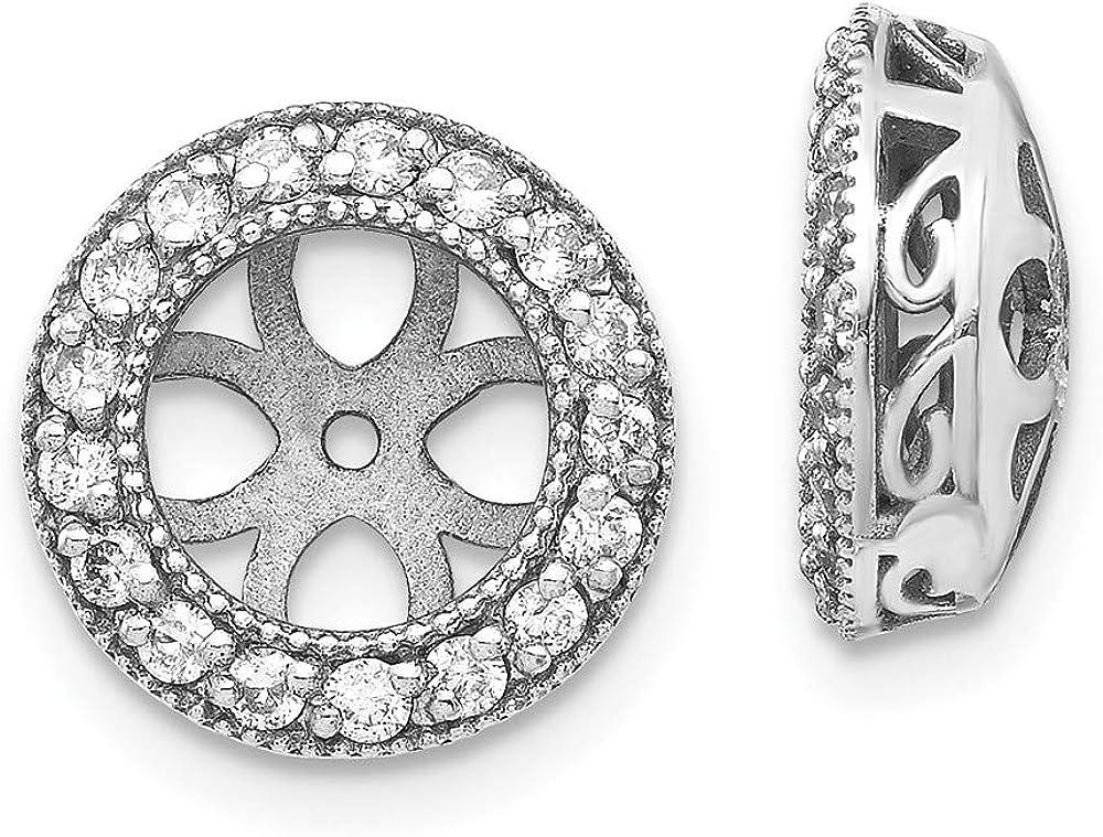 Solid 14k White Gold Diamond Earring Jacket Mountings 11.5mm