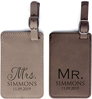 Personalized Mr & Mrs Luggage Tags Pair - Vegan Leather Mr and Mrs Wedding Luggage Tags (Light & Dark Brown)