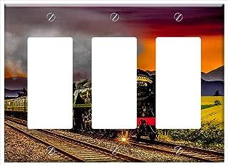 Switch Plate Triple Rocker/GFCI - Motor Railway Rails Train Race Track Transport