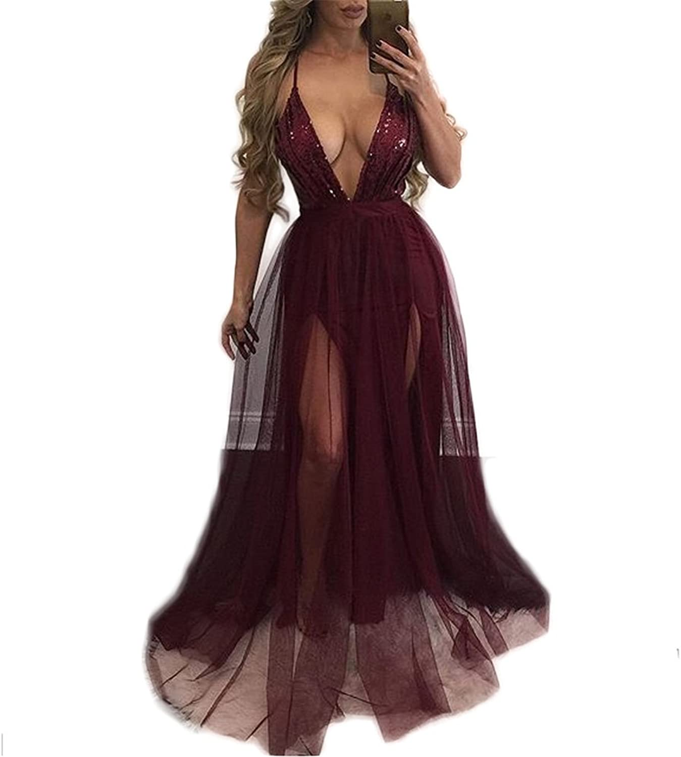 Antique Style Womens Sexy Deep V Strap Backless Sequins Bodycon Party Club High Split Dress