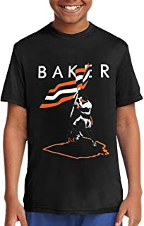 Baker Mayfield Flag Plant Music/Rock/Singer Cotton Round Neck Short Sleeve Shirts for Teen Boys and Girls Classic Fit Black