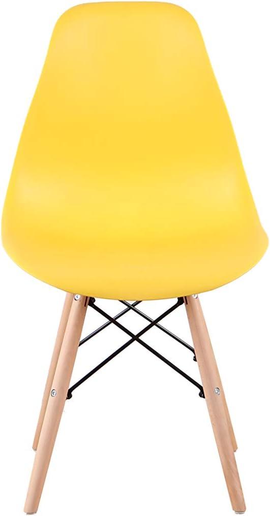 Sweethome Lot de 4 chaises de salle à manger avec dossier en bois naturel et polypropylène, chaises élégantes pour salon, café, cuisine (Kaki) Jaune