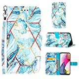 Designed for Moto G Stylus 2021 Case Wallet,[Stand Feature][Wrist Strap][Credit Cards Holder] Marble Pattern Premium PU Leather Flip Protective Cover for Moto G Stylus (2021) Phone Case (Blue)