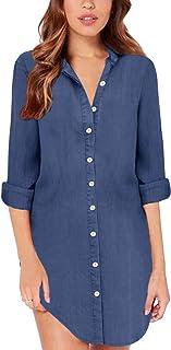 ZANZEA Camicia Donna Denim Elegante Camicetta Donna Lunga Bluse Camicie a Quadri Blusa Scollo V Casuale