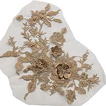 Homeofying - Aplique de encaje bordado con flores en 3D para decoración de vestidos de novia, decoración de tela