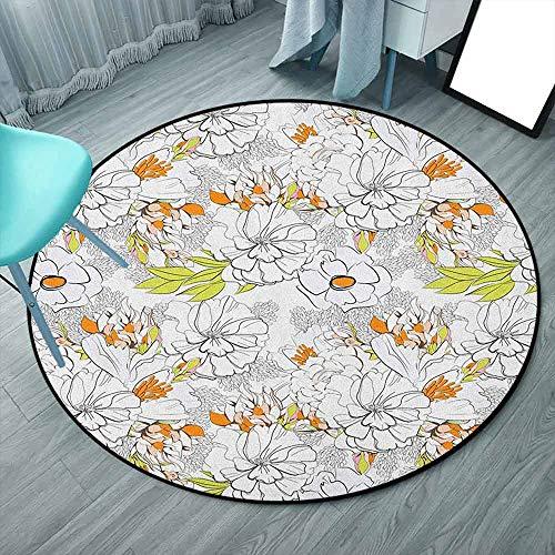 Alfombras redondas de 1,5 m para sala de estar, naranja, verde rosa, floral, vegetación de verano, diseño de vegetación viva, inspirado en la naturaleza (redondo, 150 cm x 150 cm)
