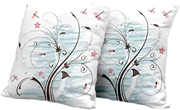 All of better Meditation Cushion Cover Dragonfly,Grunge Paint Flower Swirled Branches Buds Abstract Spring Nature Image,Light Pink Brown Mint Couch Pillow Covers 18x18 INCH 2pcs