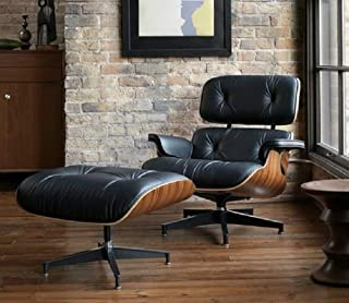 Mid Century Modern Lounge Chair with Ottoman,Mid Century Recliner Chair - High Grade Leather - Black Palisander Wood Lounge Chair Replica (Black Palisander)