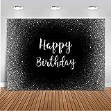 Mocsicka Happy Birthday Backdrop Black Silver Birthday Photo Backdrops 5x3ft Sweet 16 Birthday Photography Background